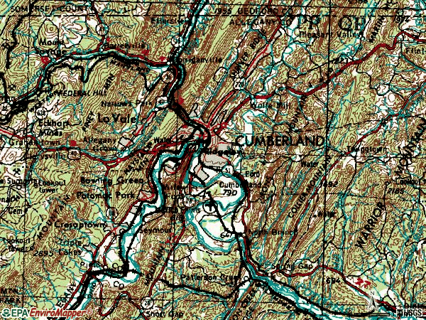 Zip code 21502 topographic map