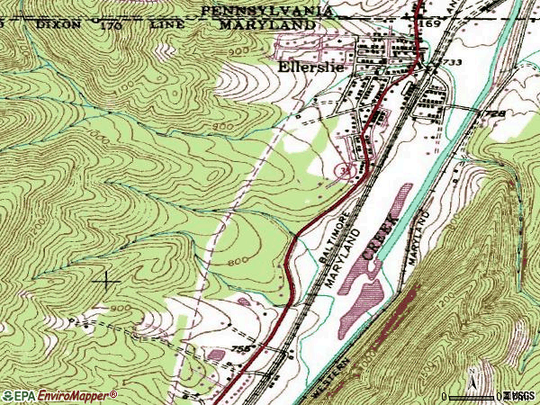 Zip code 21529 topographic map
