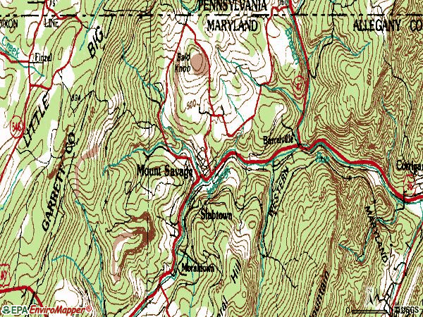 Zip code 21545 topographic map