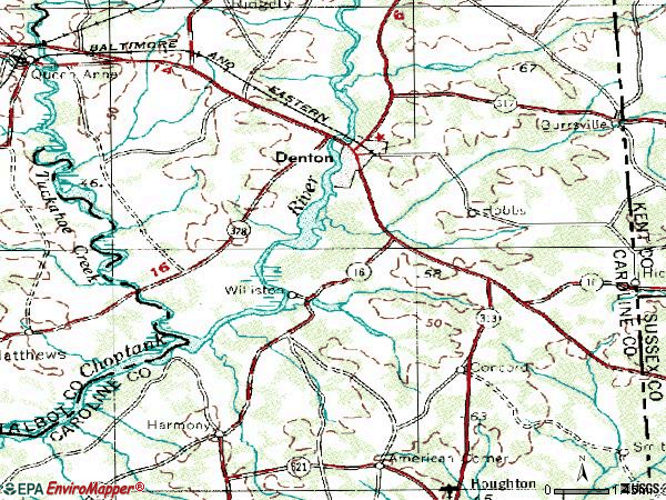 Zip code 21629 topographic map