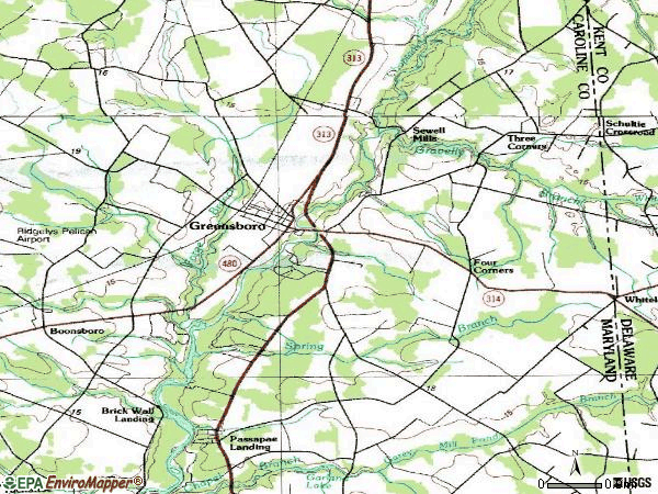 Zip code 21639 topographic map