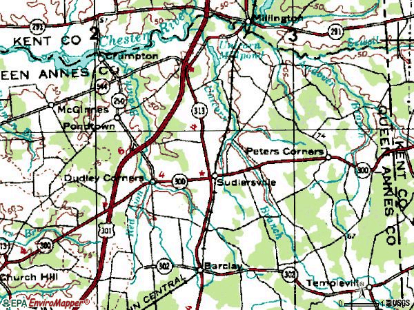 Zip code 21668 topographic map