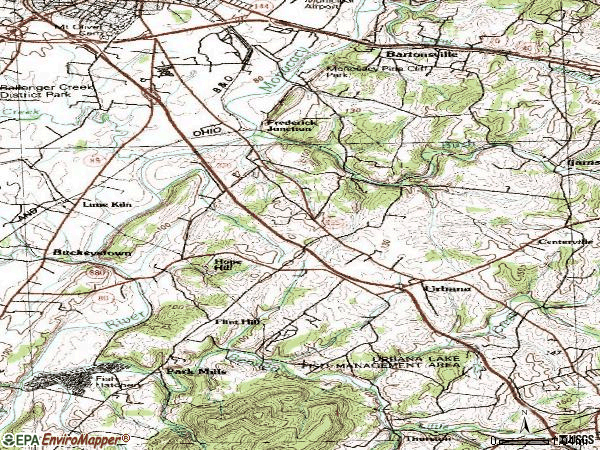 Zip code 21704 topographic map