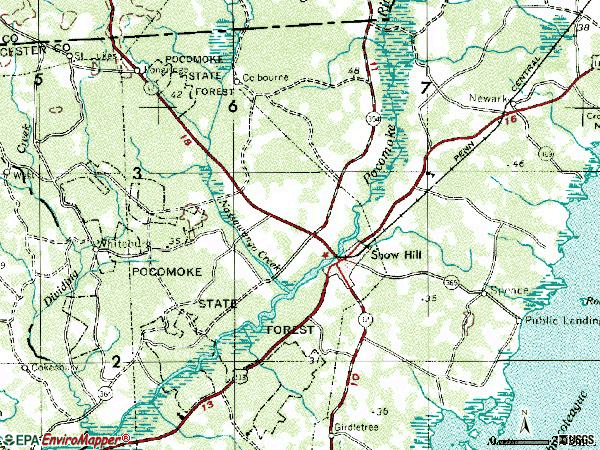 Zip code 21863 topographic map