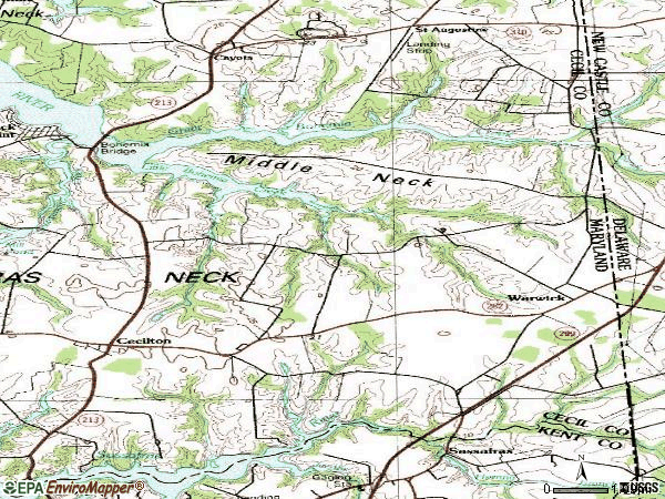 Zip code 21912 topographic map