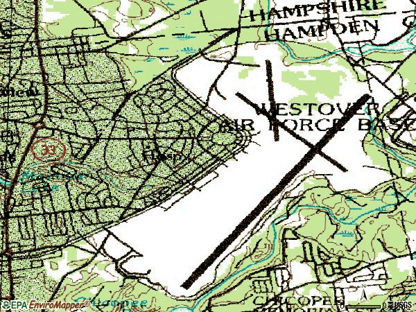 Zip code 01022 topographic map
