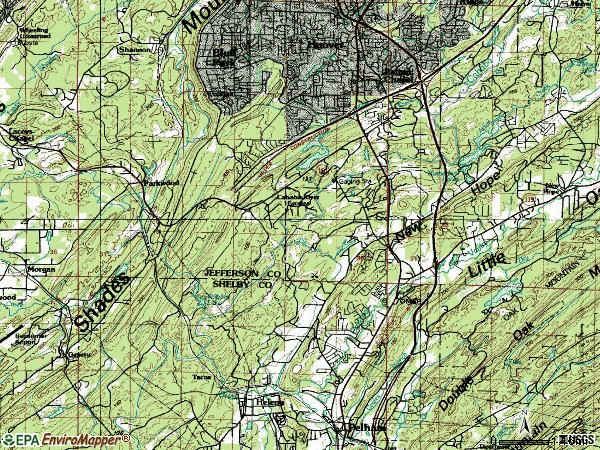 Zip code 35244 topographic map