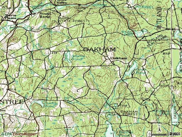 Zip code 01068 topographic map