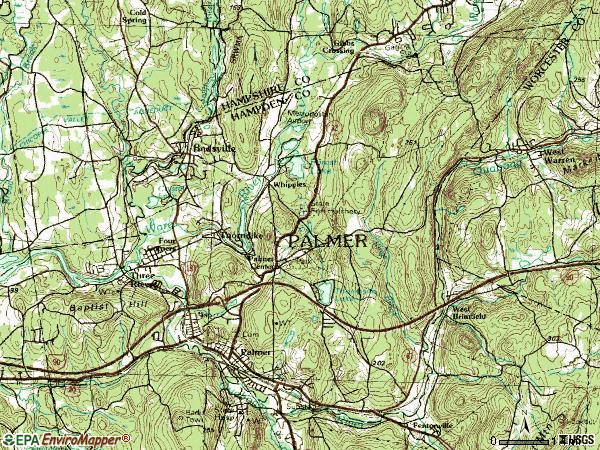 Zip code 01069 topographic map