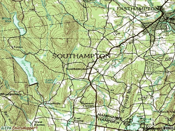 Zip code 01073 topographic map
