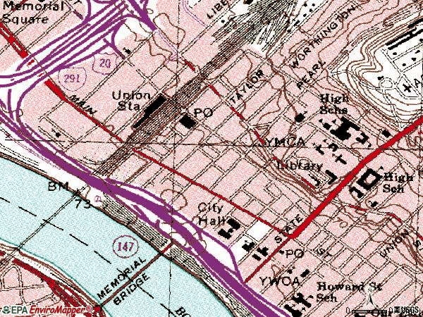 Zip code 01103 topographic map