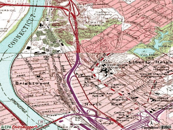 Zip code 01107 topographic map