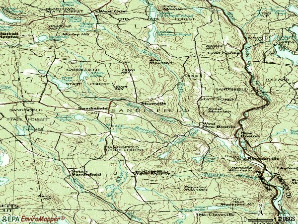 Zip code 01255 topographic map
