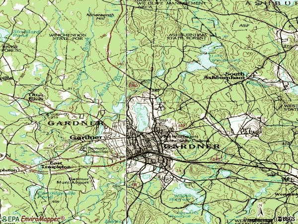 Zip code 01440 topographic map