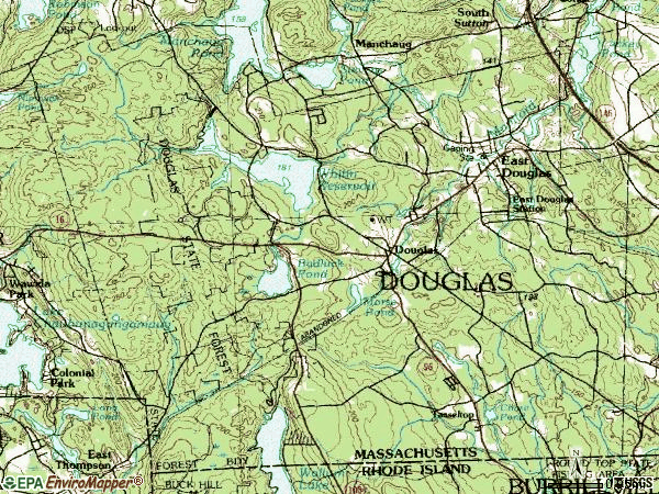 Zip code 01516 topographic map