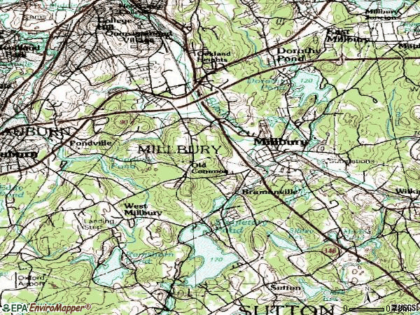 Zip code 01527 topographic map