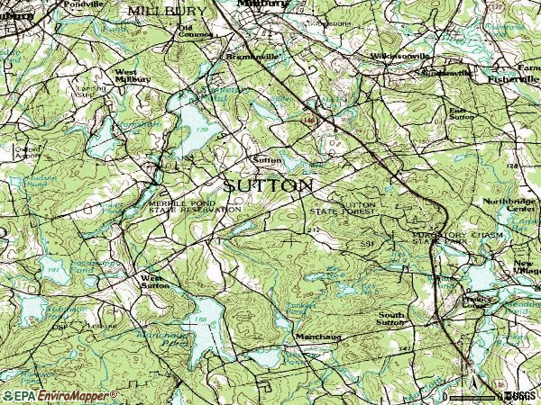 Zip code 01590 topographic map
