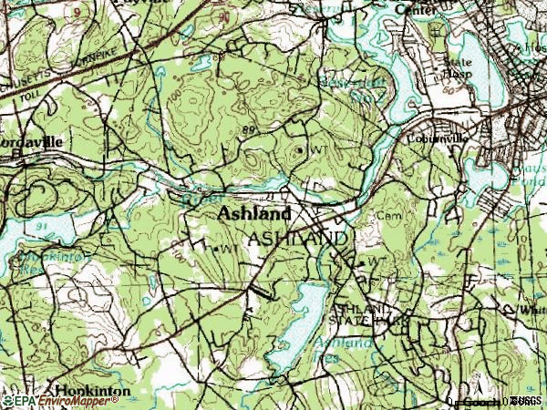 Zip code 01721 topographic map