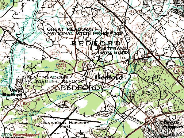 Zip code 01730 topographic map