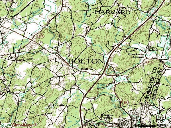 Zip code 01740 topographic map