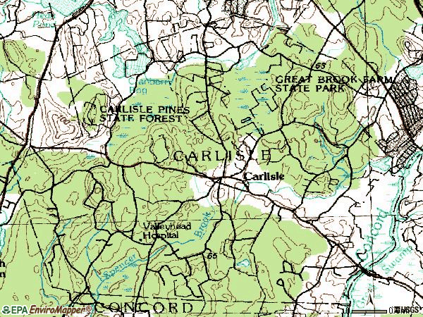 Zip code 01741 topographic map