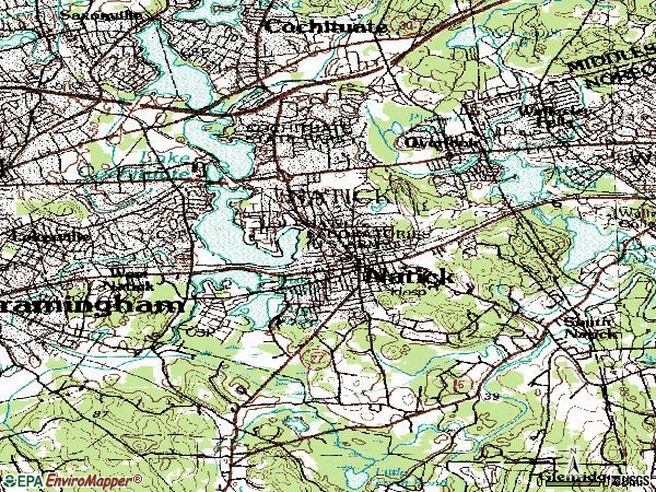 Zip code 01760 topographic map