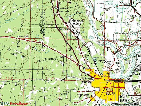 Zip code 71602 topographic map