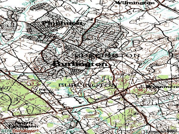 Zip code 01803 topographic map