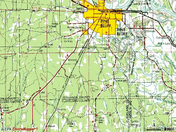 Zip code 71603 topographic map