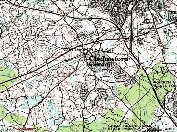 Zip code 01824 topographic map
