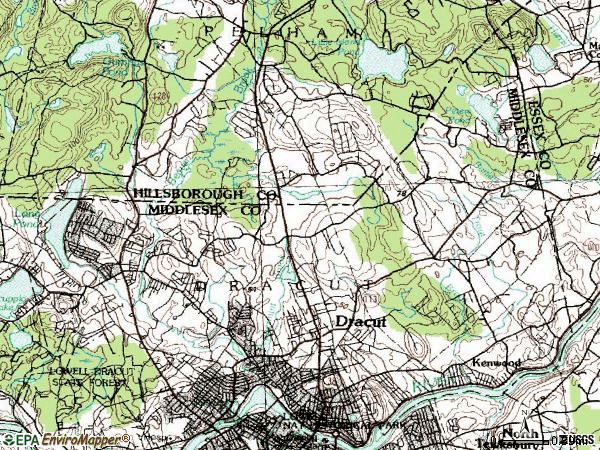 Zip code 01826 topographic map