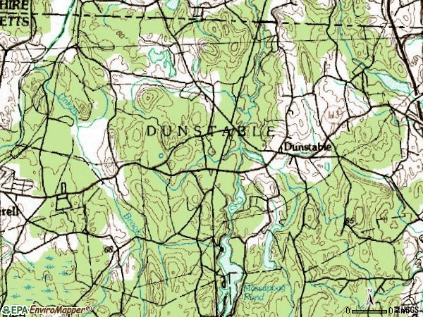 Zip code 01827 topographic map
