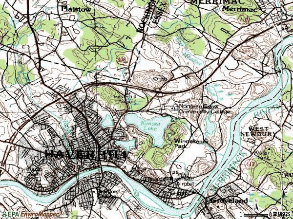 Zip code 01830 topographic map
