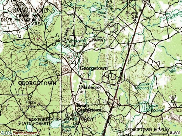 Zip code 01833 topographic map