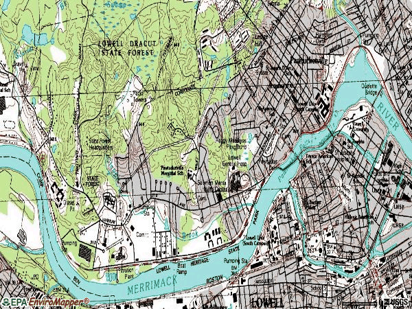 Zip code 01854 topographic map