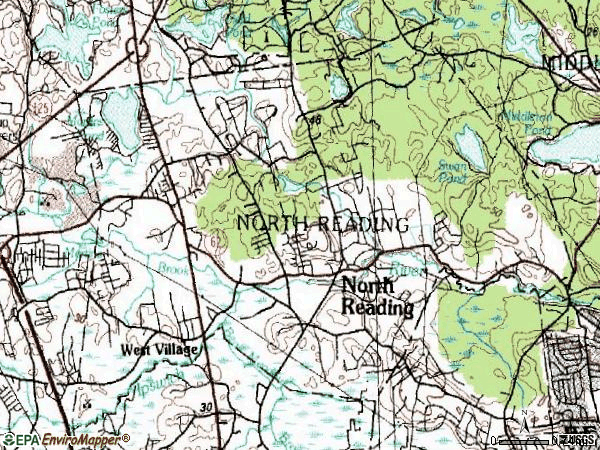 Zip code 01864 topographic map