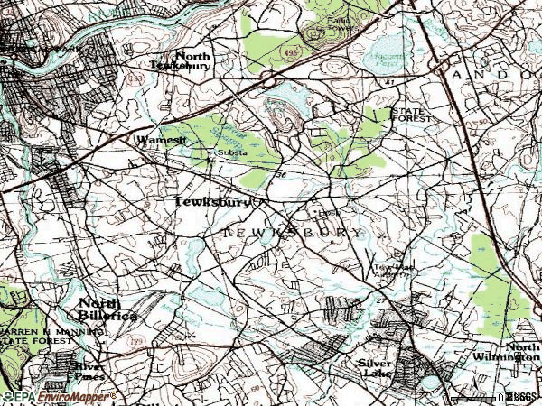 Zip code 01876 topographic map