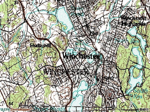 Zip code 01890 topographic map