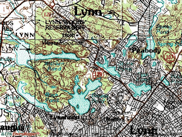 Zip code 01904 topographic map
