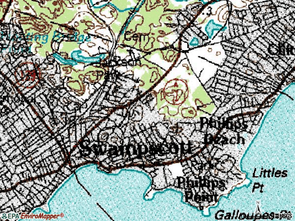 Zip code 01907 topographic map