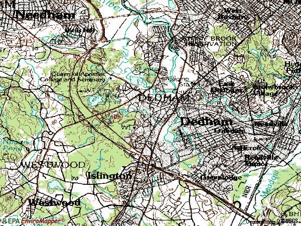 Zip code 02026 topographic map