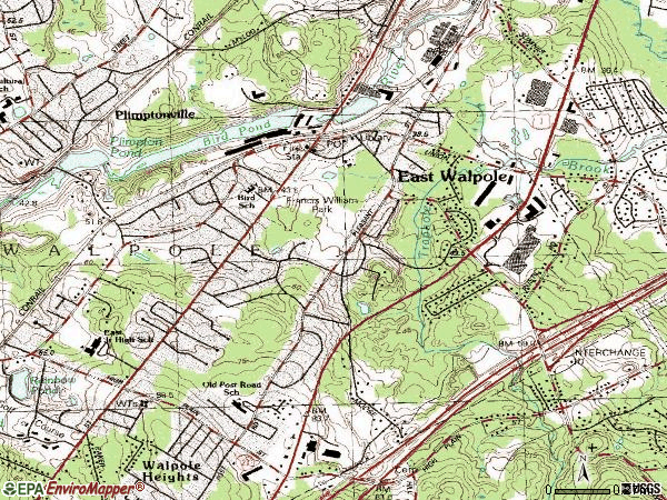 Zip code 02032 topographic map