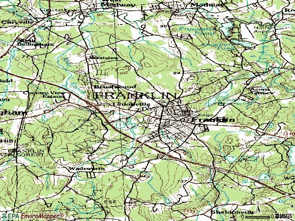 Zip code 02038 topographic map