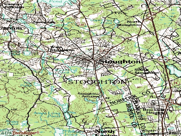 Zip code 02072 topographic map
