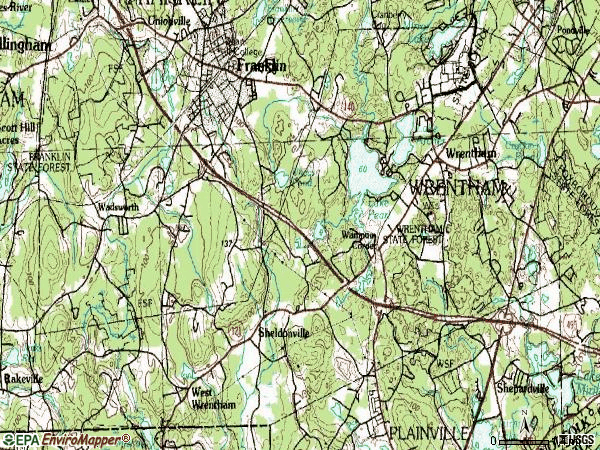 Zip code 02093 topographic map