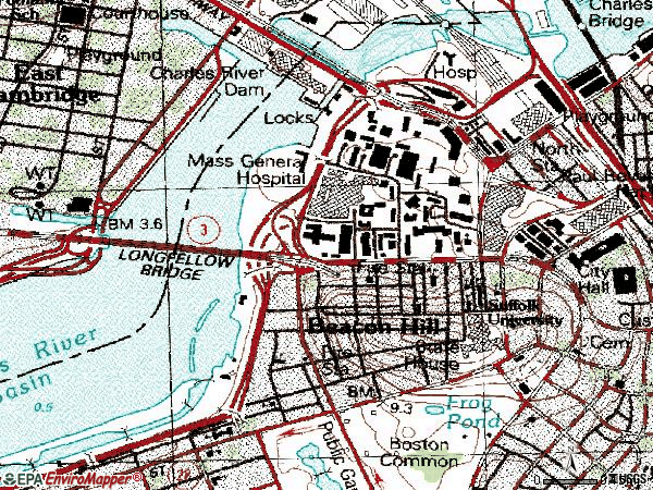 Zip code 02114 topographic map