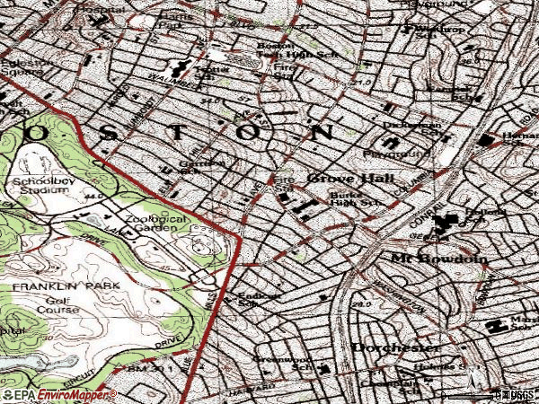 Zip code 02121 topographic map
