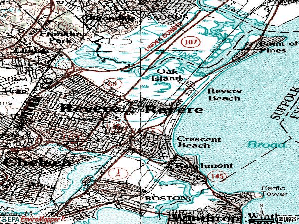 Zip code 02155 topographic map