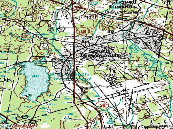 Zip code 02190 topographic map