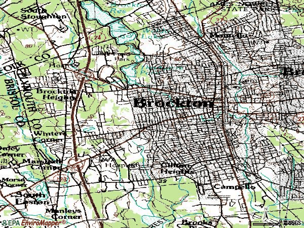 Zip code 02301 topographic map
